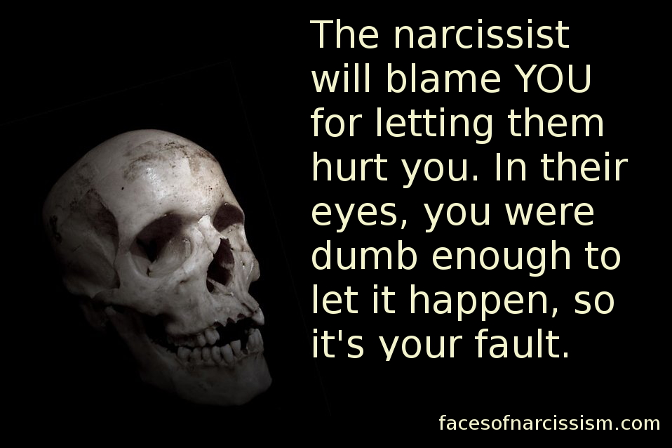 The narcissist will blame YOU for letting them hurt you